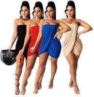 Sommer Frauen trägerlosen Kleid ärmellose schwarze Röcke Bodycon Split Röcke Sexy Kleidung plus Größe S-2X Skinny verpackt Hüftrock 4602
