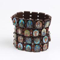 Hela 10st / Pack Jesus Armband Ängel Bangle Mary Religion Tro Trä Sträcka Katolska Ikon Välsignelser Smycken