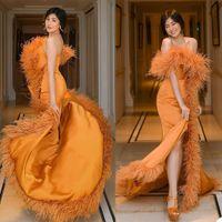 Ostrich Feather Orange Mermaid Evening Dresses Off Shoulder Front Split Fur Red Carpet Party Dress Plus Size Prom Club Formal Gowns