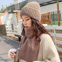 Шапочка / черепные колпачки 2021 зима сплошной цвет шерсти вязаные шапочки женщины мода повседневная шляпа теплая женская мягкая сгущая хеджирование крышка