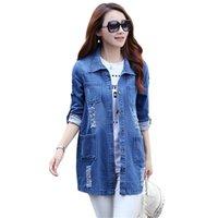 2021 Automne Fashion Femmes Denim Jacket Jeans Top Blouses Coffee Casual Long Manches Hole Poche Bleu Slim Shirts Tops de grande taille