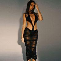 Treillis creux maxi robe femmes voir à travers Sexy Clavage sans manches asymétriques clubwear Clubwear Midnight Club Jupes