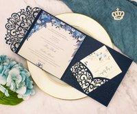 1x Blush rosado blanco azul marino azul tri plegado tarjetas de invitación de la invitación de papel de papel para requisitos particulares Pocket Pocket Fold Invitope RSVP
