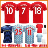 21 22 Manchester Soccer Jerseys المشجعين المشجعين Verison United Cavani Camiseta Futbol Utd Van de Beek B. Fernandes Rashford Men Women Kids Kits 2021 2022 قمصان كرة القدم