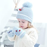 Baby Boy girl Winter Hat plane puppet Warm Mittens Set Pairs Knitted Beanie Gloves