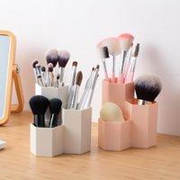 Badrum Förvaring Organisation 1PC Kosmetika Organizer Nail Polish Makeup Verktyg Penhållare Rack 3 Lattices Smycken Brush Case Office Desk