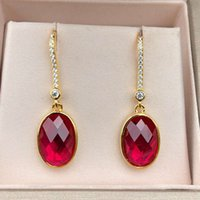 HBP Luxury Treemella pura Nail Moda Japanese y Coreano Gancho de la oreja Simple Inlay 9 * 11 Red Corundum Versátil Joyería femenina