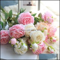 Decorative Festive Supplies Gardendecorative Flowers & Wreaths 3 Heads 1Bouquet Artificial Peony Bouquet Silk Bridal Fall Fake Rose Wedding