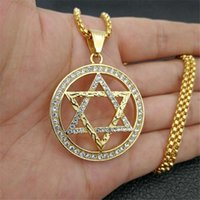 Pendant Necklaces Hip Hop Star Of David Necklace Gold Color Stainless Steel Hexagram For Women Men Iced Out Bling Jewish Jewelry