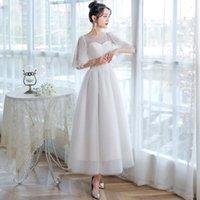 Other Wedding Dresses Dioflyusa French Bohemima Luxury Princess Gown 2021 Sliver White O-neck Sleevn Generous Simple Satin Engagement Beach