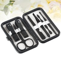 Nail Art Kits 7Pcs Professional Manicure Suits Multipurpose Clipper Cutter Trimmer File With Case(Black)