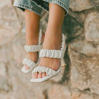 Slippers Women Summer Slides Designer 2021 Fashion Pleated Female Sandals Sexy Open Toe High Heels Lady Pumps Dress Party Shoes