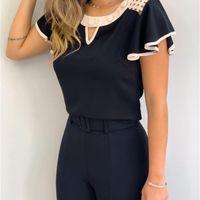 YSKKT Damenmode Rüschen Kurzarm Chiffon Tops Casual Slim Fit Hemden Bluse 210311