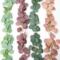 Плотные листья искусственного эвкалипта гирлянды Искусственный шелковый Eucalyptus листья лозы ручной работы Гирлянда зелень свадьба фона арки украшения стены