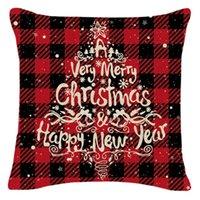 Рождественские подушки для подушки льняные буйволоки Проверьте елочные елки грузовики и оленей красную клетку наволочки рождественские декор бросать подушки GWE9424