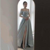 Ethnic Clothing French Satin Prom Dresses Sexy High Split Evening Women Off Shoulder Long A-Line Party Gown
