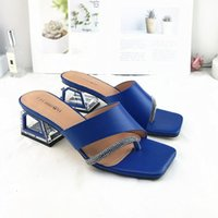 Dress Shoes Women's Slippers Outdoor 2021 Summer Fashion Knitted Stretch Open Toe Thick Sandals Zapatillas Mujer