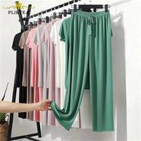 Plikteat Yaz Gevşek Ev Işçular Kadınlar Için Pijama Pantolon Set Kadın Ev Giysileri Set Lady Ev Takım Elbise Yaz Kadın Lounge Giyim 210831