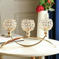 Portacandele Portacanisteria Porta in cristallo 3 braccia Candelabra Tavolo da sposa Ornamento Argento Golden Candlelight Arch Bridge Calice