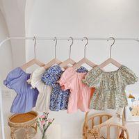 Ins корейский ребенок малыш дети девочек платье цветочные жемчужина слоеный рукав принцесса летняя бутик детская одежда