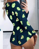 Mujeres Sexy Aguacate Estampado Verano Mono corto Femenino Femenino de manga larga Hombre de manga larga Salón Romper Dormitorio Dormitorio Pajamas N45L #