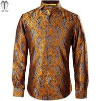 Men's Casual Shirts Hi-Tie Silk Jacquard Mens Long Sleeve Orange Floral Men Shirt Slim Fit For Male Dress Jeans Leisure Wedding Party