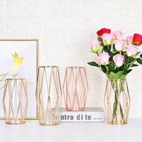 Nordic Искусственный цветок ваза фонарика в форме железа искусство стекла ваза растение стойки бутылка золото покрытый цветочный горшок свадебные украшения 210623
