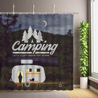 Shower Curtains Forest Camping Poster Camper Car Woods Outdoor Landscape Bathroom Decor Hanging Curtain Backdrop Cloth Set