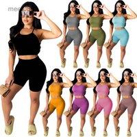 6 Renkler 2021 Yaz kadın Rahat Katı Renkler Sling Iki Parçalı Setleri Güzel Çukur Bar Tasarımcı Stil Moda Sıcak Satış İnce Suit