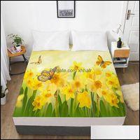 Draps Fournitures Textiles Home GardensSheets Ensembles 3D Feuille d'ajustée Custom Custom Un lit double King simple avec matelas élastique ER 160x200 Beddin