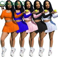 Womens Tracksuits Two Peices Set Designer Tennis Slim Sexy Spring Fall Yoga Sports Clothing Long Sleeve Crop Top Shorts Skirt Jogging Suit