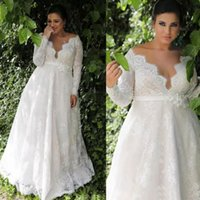 Modest Plus Size Sheath Wedding Dresses Full Lace Long Sleeves Deep V-neck Bridal Gowns Custom Made vestidos de novia