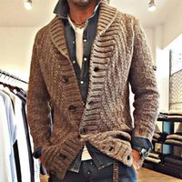 Men's Sweaters Homme Fall Thicken Turn-down Collar Knitted Cardigan Mens Single Breasted Brown Casual Designer Korean Style Tops Manteaux
