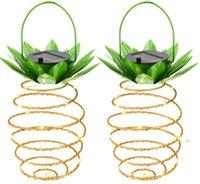 인공 식물 태양 정원 조명 파인애플 모양 태양 매달려 빛 방수 벽 램프 요정 야간 조명 철 와이어 아트 홈 fwe8119