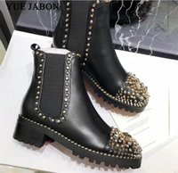 Black Women Boots Rivetti Combattimento Botine Botine Runny Inverno Scarpe Donna Moto Stivaletti Stivali Design Zapatos Botas Mujer B7RC #