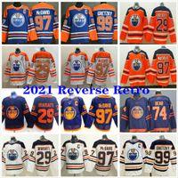 2021 Reverse Retro Edmonton Oilers # 29 Leon Draisaitl 93 Ryan Nugent-Hopkins 74 Ethan Bear 99 Wayne Gretzky 97 Connor McDavid Hóquei Jerseys