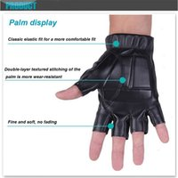 Men Black Pu Leather Tactical Glove Sport Gym Fitness Cycling Glove Half Fin