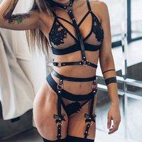 Bondage Sexy Imbracatura in pelle erotica Donne fetish indossare Harajuku Petto in vita a Gamba Cinghie Cage BDSM Gear Sex Shop