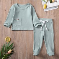 0-6M Spring Autumn Newborn Boy Girls Clothes Sets Toddler Unisex Baby Ribbed Knitted T-shirts+Pants Leggings Cotton