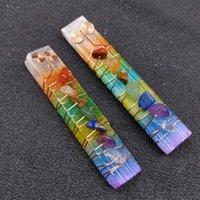 Charms 7 Chakra Healing Crystals Stone Beads Wire Wrapped Raw Selenite Stick Wand For Yoga Meditation Spiritual Reiki Balancing