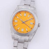 Мужские часы Автоматические механические часы 41 мм с бриллиантовым стальным стальным женским наручным часом браслет Montre de luxe полный алмаз