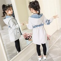 Coat Children Autumn Trench Coats Girls Long Outerwear Teenage Windbreaker 2021 Spring Fall Kids Clothes Fashion Hooded Jackets