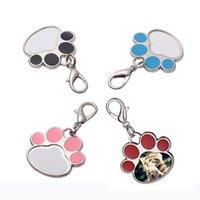 4 색 승화 빈 키 체인 펜던트 크리 에이 티브 고양이 발톱 키 체인 열 전송 열쇠 고리 DIY 애완 동물 열쇠 고리 GWB8543