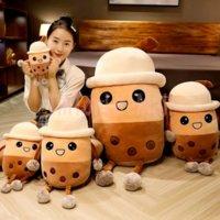 20cm Cute Cartoon Bubble Tea Cup Shaped Toys Real-Life Pearl Milk Plush Pillow Stuffed Soft Back Cushion Funny Boba Food