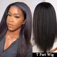Lace Wigs Kinky Straight Wig 13x1 Transparent Front Brazilian Remy Hair Yaki Human T Part For Women