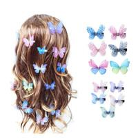 Beautiful Strass Doppi strati Tulle Butterfly Capelli Clip per le donne Girls Guppin Garza Farfalla Accessori per capelli Ornamenti 44 Y2