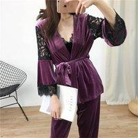 Lisacmvvnel 3 PCS Terciopelo de oro Mantenga cálido Pijamas Encaje Lace Sexy Robe + Nightdress + Pantalón largo PAJAMA PARA MUJERES T200111
