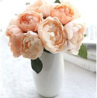 6 헤드 인공 장미 모란 실크 꽃 꽃다발 축제 발렌타인 데이 기념일 선물 결혼식 홈 테이블 준비 장식 241 S2