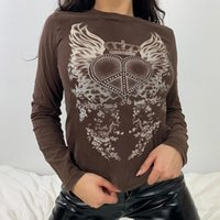 Women's T-Shirt Women Casual Basice Crop Top Y2K Fairy Grunge Graphic Print 90s Vintage Long Sleeve O Neck Pullovers Autum Sweat Tees