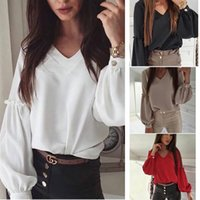 2021 Solid Color Spring The New Listing Stitching Tops Pullover V-Neck Long Lantern Sleeve Blouse Shirts Blouses Women Fashion